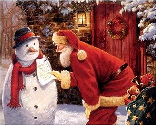 Papá Noel y muñeco de nieve, cuadros de pared para sala de estar, lienzo decorativo, póster, decoraciones navideñas para el hogar, regalo caliente, 80x100 cm sin marco
