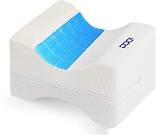 iDOO Knee Pillow Leg Pillows Memory Foam Pillow with Cooling Gel & Adjustable Strap, Leg Position Pillow for Sciatica Relief, Back Pain, Leg Pain, Hip & Joint Pain, Pregnancy & Side Sleeper