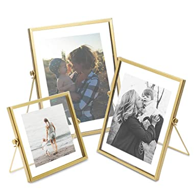 AceList Set of 3 Glass Photo Frame Collection Simple Metal Geometric Picture Frame with Plexiglas Cover Includes 4   x 4  , 4   x 6  , 5   x 7