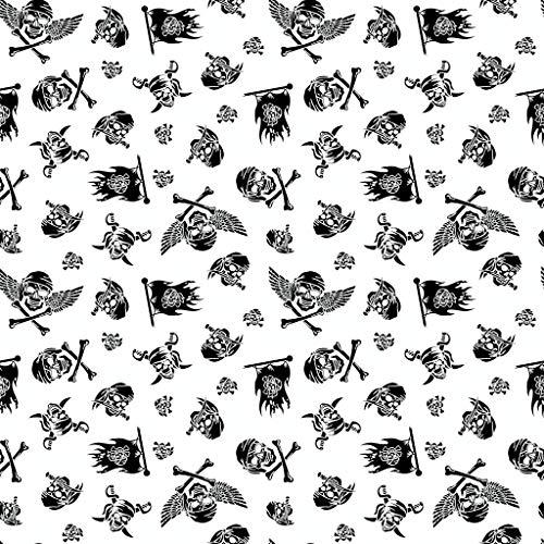 11,99€/m 100x160cm Totenkopf Pirat 100% Baumwolle Baumwollstoff Kinder Meterware Handwerken Nähen Stoff (Totenkopf Weiß Schwarz, 100x160cm (11,99€/m))