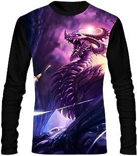 b609b81a9 Fuxejin Hipster Mens T Shirt,Purple Bad Dragon Painting Print Long Sleeves  Stylish Classic Tee