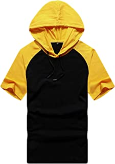 Summer Men's Shirt Casual Solid Color Loose Hooded Top T-shirt Sportswear Hoodie Short-sleeved Men's T-shirt