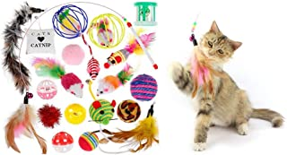 Mumoo Bear Cat Toys Variety Pack 20PCS Kitten Toys Assortments Chew Toys Teaser Wand, Interactive Feather Toy