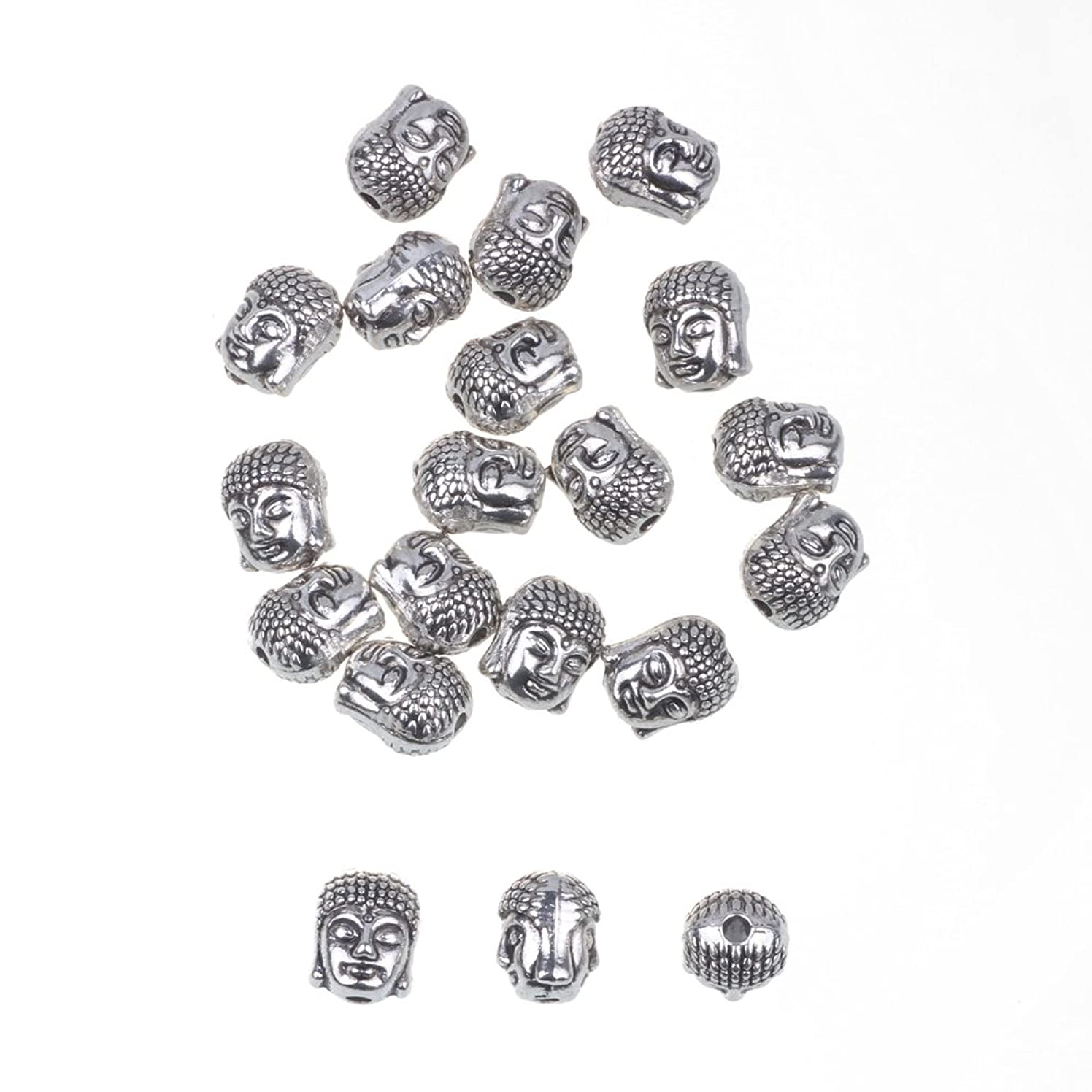 RUBYCA 40PCS Buddha Small Spiritual Metal Beads Silver Color Spacer for Jewelry Making Bracelet