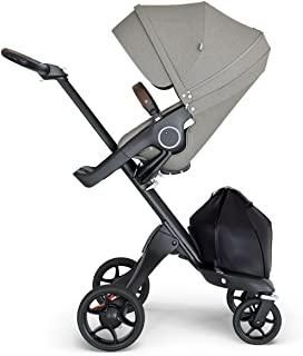 StokkeXplory V6 Black Chassis Stroller with Brown Leatherette Handle, Brushed Grey