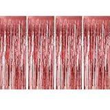 Sumind 4 Pack Foil Curtains Metallic Fringe Curtains Shimmer Curtain for Birthday Wedding Party Christmas Decorations (Rose Gold)
