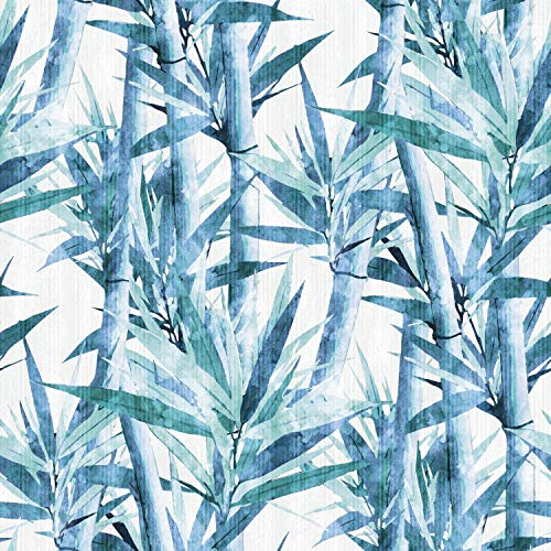 RoomMates RMK11368RL Lucky Bamboo Peel and Stick Wallpaper, Blue