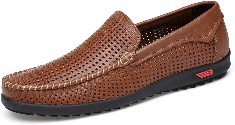 CHENDX Schuhe, Schuhe, Herrenmode Weiche Gummisohle Driving Penny Loafers Bare Vamp Casual Stiefel Mokassins (Farbe   Hollow braun, Größe   42 EU)  praktisch
