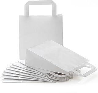 Logbuch-Verlag 10 kleine WEISSE Papiertaschen Papiertragetasche 18 x 8 x 22 cm Geschenktüte zum Bemalen Verpackung Geschen...