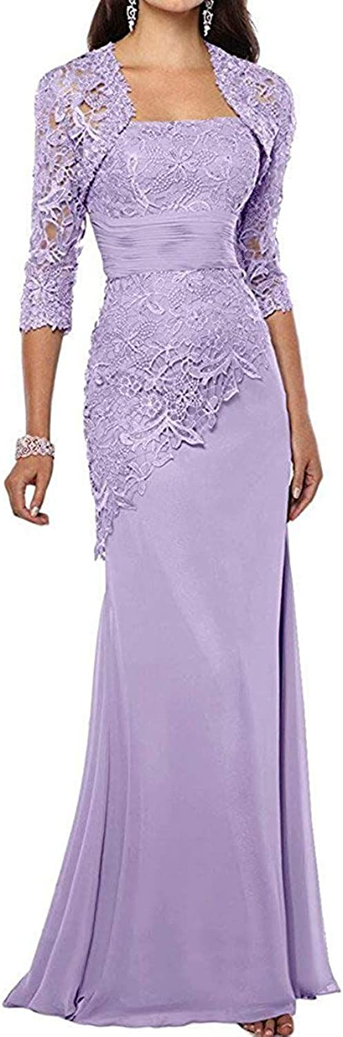 HIDRESS Women's Long Mother of The Bride Dresses Two Pieces Formal Gowns with Jacket BQ176