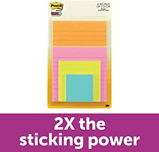 Post-it Super Sticky Notes, 2x Sticking Power, Assorted Sizes, Miami Collection, 4 Pads per Pack, 45 Sheets per Pad (4622-SSMIA)