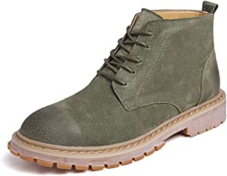 CHENDX Shoes, Men's Fashion Casual Simple and Comfortable Classic High Top Boot Retro Pure Colour Ankle Work Boot (Color : Green, Size : 5.5 UK)