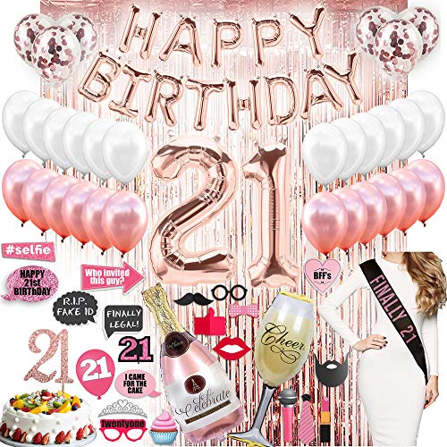 21st Birthday Decorations Party Supplies Rose gold Finally 21 Birthday Banner Cake Topper Champagne Balloon Glass Sash Backdrop Photo Porps