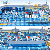 International Airport Assembled Toy 8 Planes and 8 Vehicles 200 Pieces Aircraft Model Playset Simulated Scene