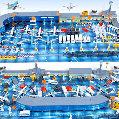International Airport Assembled Toy 8 Planes and 8 Vehicles 200 Pieces...