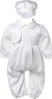 inhzoy Neugeborenen Baby Junge Taufkleidung Hochzeit Outfits Kurzarm Hemd Body Taufstrampler mit Mütze Säugling Baby Taufe Gentleman Outfit Baumwolle