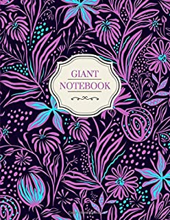 Giant Notebook | 500 Lined Pages, Purple Garden Theme: 8.5 x 11 in, with Table of Contents and Page Numbers, Golding's Large Journal Series