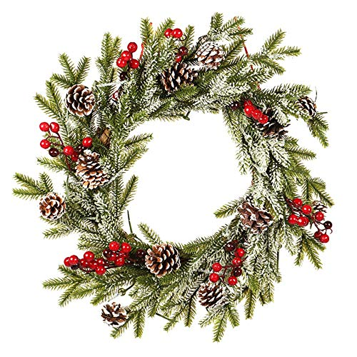 Mogzank Corona de Puerta de Navidad de 20 Pulgadas - DecoracióN Colgante de Flocado Esmerilado de Fruta Roja de PiiA Blanca úNica para Puerta de Entrada, Ventana
