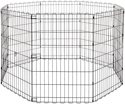 Amazon Basics - Parque de juegos y ejercicios para mascotas, paneles de valla metálica, plegable, 152,4 x 152,4 x 91,4 cm
