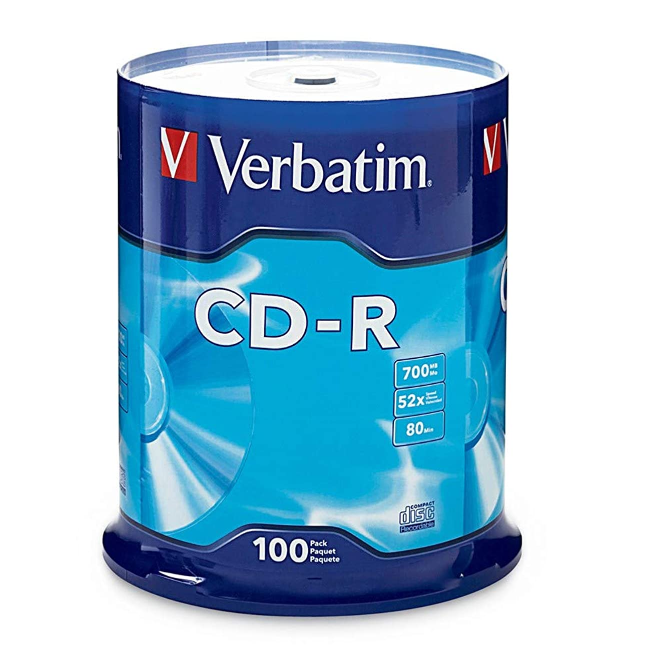 Verbatim CD-R 700MB 80 Minute 52x Recordable Disc - 100 Pack Spindle - 94554