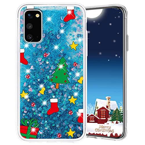 Misstars Weihnachten Handyhülle für Galaxy S20, 3D Kreativ Glitzer Flüssig Transparent Weich Silikon TPU Bumper mit Weihnachtsbaum Muster Design Anti-kratzt Schutzhülle für Samsung Galaxy S20