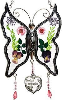 Precious Grandmother New Butterfly Suncatchers Gifts for Grandma Pressed Dried Flower Metal Engraved Charm as Mother's Day Grandma Birthday Christmas Gifts from granddaughter grandson