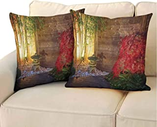 QIAOQIAOLO Fine Plush Pillowcase Garden (Set of 2) Japanese Stone Lantern and Red Maple Tree in an Autumnal Zen Garden Bamboo Trees Easy to Care Multicolor 18x18 inch
