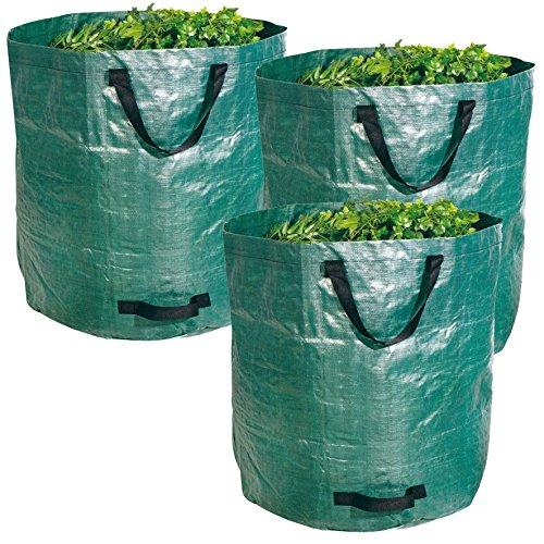 Gartenabfallsack XXL 272L im 3er Set - Extra robustes Polypropylen-Gewebe 150g/m² - wasserdicht & reißfest - Perfekter Behälter für Laub, Müll, Grünabfall, Grüngut & Kompost