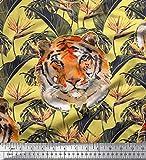 Soimoi Gelb Seide Stoff Tropische Blätter & Tiger-Gesicht