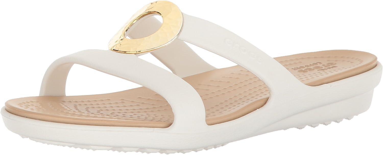 Crocs Women's Sanrah Hammered Metallic Flat Sandals