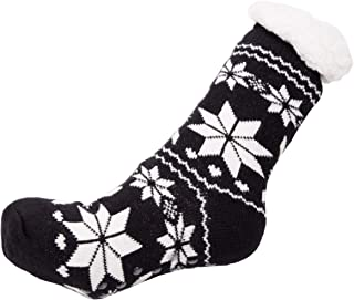 Women's Warm Snow Flake Knit Long Slipper Socks Lining inside and Silicon Gripper Christmas Gift