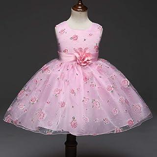 GHTWJJ Vestidos De Noche De Niña Vestido De Novia De Princesa De Boda Vestido De Malla De Malla De Estampado Infantil Rosa...