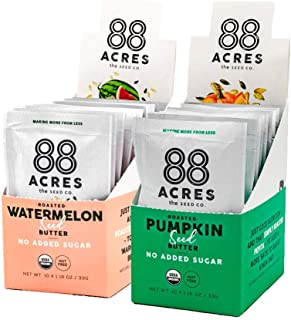 88 Acres, Pumpkin & Watermelon No Added Sugar Seed Butter Bundle, Single-Serve Squeezable Pouch, Nut-Free, Non-GMO, Dairy-Free, 20 Pouches (1.16 Oz)