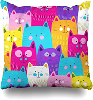 ArtsDecor Throw Pillow Covers Doodle Blue Kitten Cute Cats Yellow Pattern Pink Funny Artistic Home Decor Cushion Square Size 20