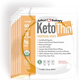 Julian Bakery Keto Thin Wraps | USDA Organic | Gluten-Free | Grain-Free | Low Carb | 1 Net Carb | 7 Pack | 49 Individual W...