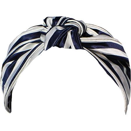 blue and white one size adult adjustable headband womens tie headband hair scarf Navy stripe knot headband baby bow headband