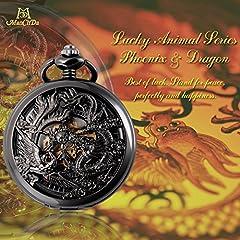 ManChDa Pocket Watch Lucky Dragon & Phoenix Vintage Mechanical Steampunk Skeleton Roman Numerals Black Fob Watch with Chain for Men Women #1