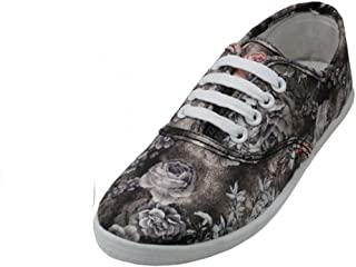 Easy USA - Womens Canvas Lace Up Shoe with Padded Insole Grey Rose-7