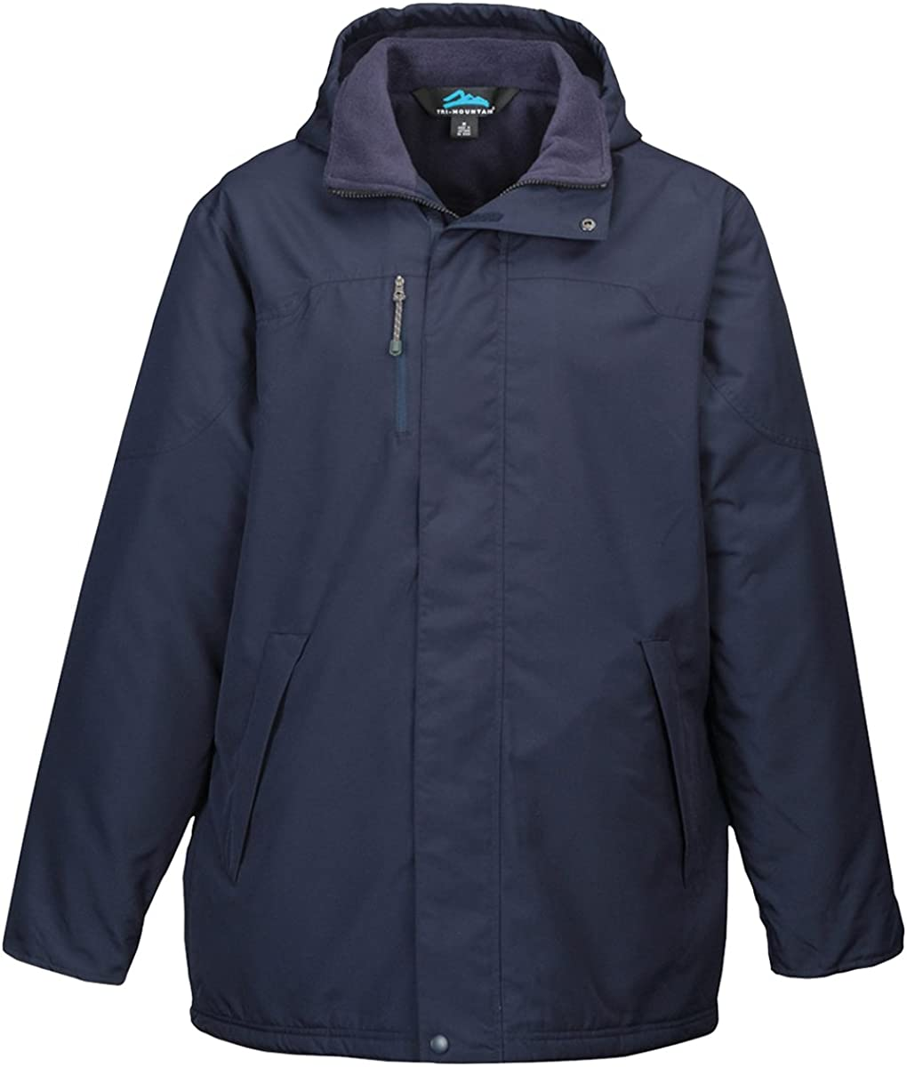 Tri-Mountain 9980 Mens 100% Polyester Long Sleeve jacket With Water Resistent - Navy/Navy - M