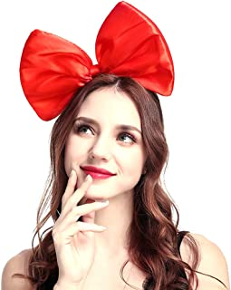 Bow Headband Headbands for Women Girls - 1pcs Large Red Bow Headbands/Headwraps/Hairband/Headwear for Birthday Valentines Day Christmas Gifts Birthday Party Cosplay Costume Accessories Gifts