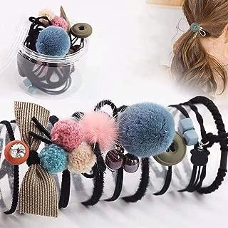 ROWAG 10pcs Women Bow-knot Hair Tie Rubber Band for Girls Ponytail Holder Pom Pom Scrunchies Black