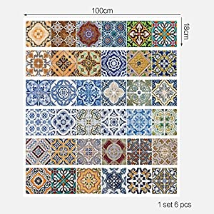 FLFK 3D Mexican Talavera Ceramic Tile Stickers Stair Stickers Waterproof Wallpaper Decal for Bathroom & Kitchen Backsplash Decoration 39.3Inch x7.08Inch x 6PCS