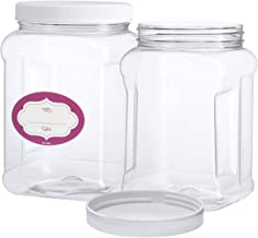 3 Pack - Half Gallon Large Clear Empty Plastic Storage Jars with Lids - Square Food Grade Air Tight Wide Mouth Container with Easy Grip Handles - BPA Free Multi-Purpose Jar