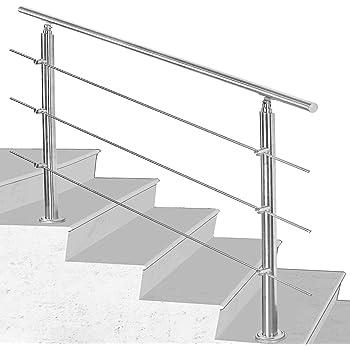 Hengda Pasamanos escalera acero inox 80 * 4.2 * 106.5cm,3 barras,barandilla con kit de instalación,para Exteriores Ático Barandas para Ancianos y niños: Amazon.es: Bricolaje y herramientas