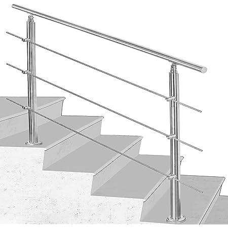 MCTECH/® Gel/änder Edelstahl Handlauf Treppengel/änder 2 Pfosten mit//ohne Querstreben f/ür Treppen Balkon Br/üstung 80cm, ohne Querstreben