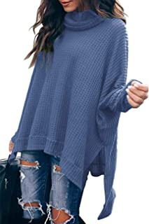 Romanstii Batwing Sweaters for Women Waffle Knit High Low Tops Sweatshirts Side Split Pullover Sweater Turtleneck Jumper