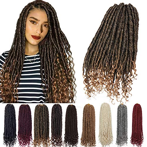 6 Packs 16 inch Fauxs Locs Crochet Hair Goddess Crochet Braids Full Head Hair Extensions Synthetic Fibre Kanekalon Box Braid Braiding with Wavy Curly Ends for Women Dark Grey
