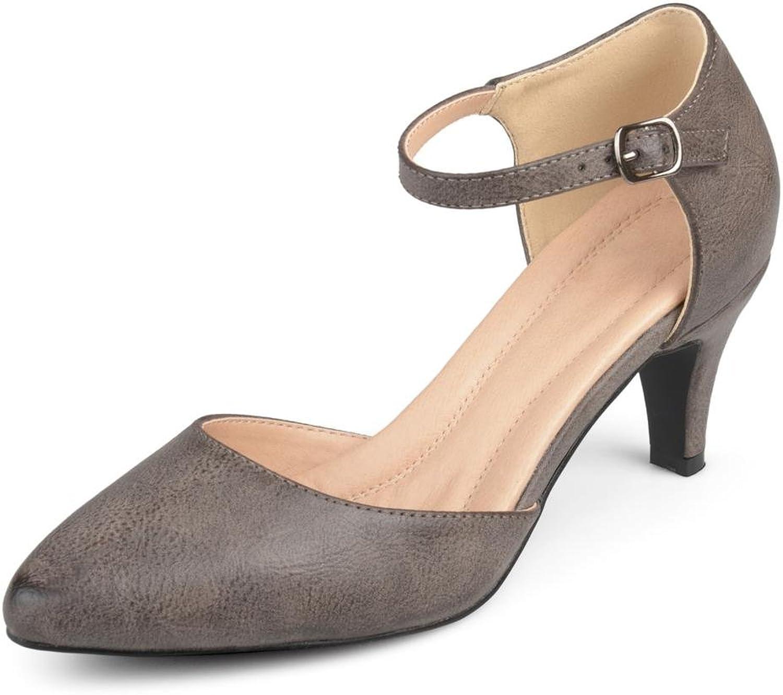 Brinley Co kvinnor Faux läder Comfort Comfort Comfort Sole D'Orsay Ankle Strap Almond Toe He.  populär