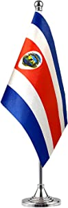 GentleGirl.USA Costa rica Table Flags Stick Small Mini Costa Rican Flag Office Desk Flag on Stand with Stand Base, International Festival Decoration,Costa Rican Theme Party Decoration,Home Decoration