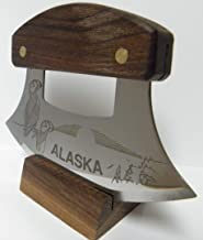 """product image for Alaskan Inupiat Style Walnut Ulu Knife with """"Puffin Sunset"""" Etched Blade & Display Stand"""